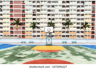 Hong Kong, China - June 24, 2019 : Choi Hung or literally `Rainbow Estate` is one of the oldest public housing estates in Hong Kong. Located in the Wong Tai Sin District of Kowloon.