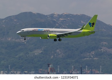 Hong Kong, China. June 28, 2018. Jin Air Boeing 737-8SH(WL) Reg. HL8015 of South Korea on Short Final Approaching for Landing at Hong Kong Chek Lap Kok International Airport.