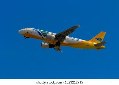 Hong Kong, China. June 29, 2018. Cebu Pacific Airbus A320-214 Reg. RP-C3266 Taking Off from Hong Kong Chek Lap Kok International Airport with Blue Sky.