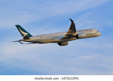 Hong Kong, China. June 29, 2018. Cathay Pacific Airbus A350-941 Reg. B-LRQ Taking Off from Hong Kong Chek Lap Kok International Airport with Blue Sky.