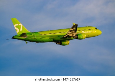 Hong Kong, China. June 29, 2018. Siberia Airlines Airbus A320-214 Reg. VQ-BDE Taking Off from Hong Kong Chek Lap Kok International Airport with Blue Sky.