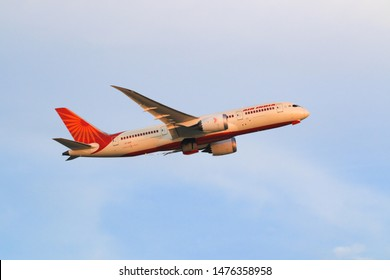 Hong Kong, China. June 29, 2018. Air India Boeing 787-8 Dreamliner  Reg. VT-ANV Taking Off from Hong Kong Chek Lap Kok International Airport with Blue Sky.