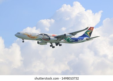Hong Kong, China. June 30, 2018. South African Airways Airbus A340 Reg.ZS-SXD Team South Africa 2012 special livery on Short Final Approach for Landing at Hong Kong Internationational Airport