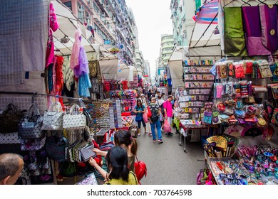 HONG KONG, CHINA - JUNE 4, 2017: Temple Street near Nathan Road, Yau Ma Tei, Kowloon, Temple Street Market is a popular street bazaar and famous tourist attraction in Hong Kong.