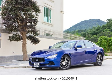 Hong Kong, China June 5, 2014 : Maserati Ghibli sport sedan test drive on June 5 2014 in Hong Kong.