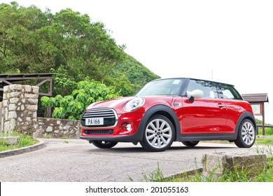 Hong Kong, China June 5, 2014 : Mini Cooper test drive on June 5 2014 in Hong Kong.