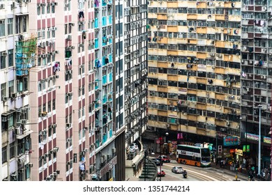 Hong Kong, China - March 15 2019: Traffic along the King's Road in the very crowded North Point district in Hong Kong island in China