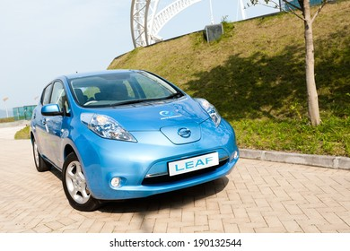 Hong Kong, China March 16, 2011 : Nissan Leaf test drive on March 16 2011 in Hong Kong.