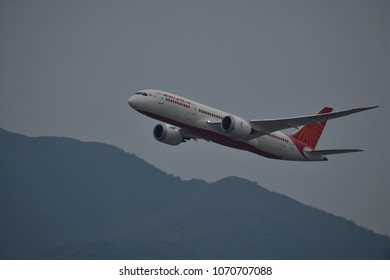 Hong Kong, China, March 25th 2018: Air India aircraft just departed Hong Kong international airport. Air India is the flag  ship air carrier of India serving 90 domestic and international cities.