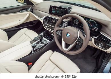 Hong Kong, China March 7, 2017 : BMW 5-Series 2017 Interior on March 7 2017 in Hong Kong.