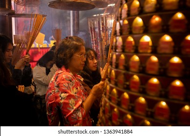 hong kong china - march17,2019 : unidentified people praying in Hung Hom Kwun Yum Temple one of most important in kowloon district of hong kong