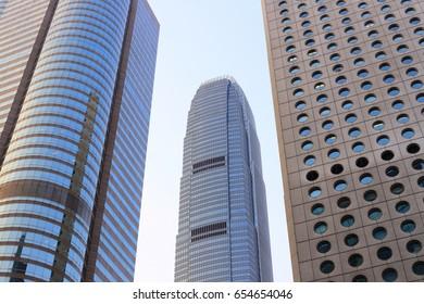 HONG KONG, CHINA - MAY 09, 2017: Modern office buildings in Central Hong Kong