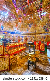 HONG KONG, CHINA - MAY 17, 2014: The interior of Man Mo Temple. Established in 1847, the temple is dedicated to the civil god Man Cheong and the martial god Kwan Tai.