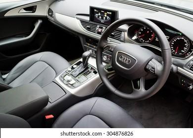 Hong Kong, China May 17 2015 : Audi A6 35 TFSI 2015 Interior on May 17 2015 in Hong Kong.