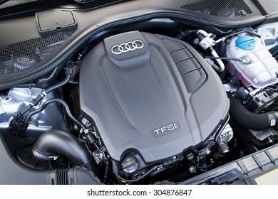 Hong Kong, China May 17 2015 : Audi A6 35 TFSI 2015 Engine on May 17 2015 in Hong Kong.