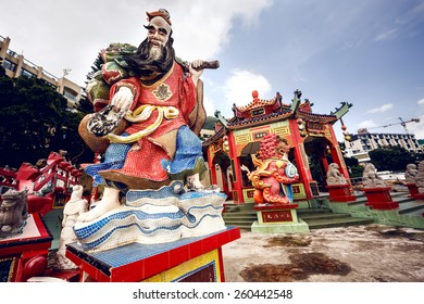 HONG KONG, CHINA - MAY 20, 2014: Traditional Chinese sculptures and symbols in Hong Kong, China on May 20, 2014