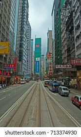 HONG KONG, CHINA – MAY 27, 2008: traffic and city life in Hennessy Road. Beautiful and crowded part of the town.