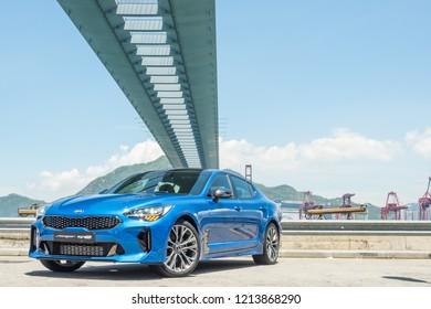 Hong Kong, China May 31, 2018 : Kia Stinger GT 2018 Test Drive Day May 31 2018 in Hong Kong.