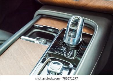 Hong Kong, China May 31, 2017 : Volvo XC90 Twin Turbo 2017 Gear Box May 31 2017 in Hong Kong.