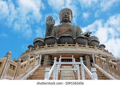 HONG KONG, CHINA - MAY 5, 2018:  Giant Buddha at Po Lin Monastery in Hong Kong.