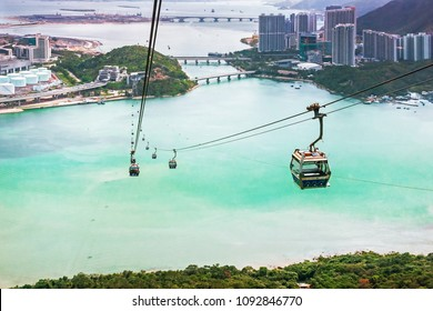 HONG KONG, CHINA - MAY 5, 2018: People are on Cable car Ngong Ping 360 to Lantau Island in Hong Kong. Popular public transportation from Tung Chung Station.