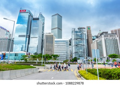 HONG KONG, CHINA - MAY 6, 2018 : Modern office buildings in central Hong Kong. with Central Plaza, Hong Kong Convention and Exhibition Centre, Bank of China, HSBC, Two International Finance Centre.