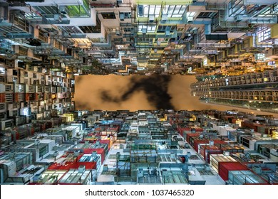 Hong Kong, China, night view of old residential buildings in one of the world's most densely populated cities.