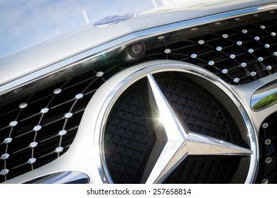 Hong Kong, China Nov 18, 2014 : Mercedes-Benz CLS 400 2014 front camera on Nov 18 2014 in Hong Kong.