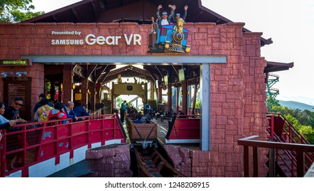 Hong Kong, China , Nov 29, 2018: People are so excited to ride the VR Mine Train on Ocean Park, Hongkong. Ocean park is one of the famous theme parks in Hong Kong.