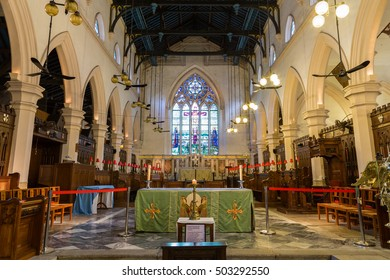HONG KONG, CHINA - NOVEMBER 18, 2015: Inside the St. John's Cathedral. It's the oldest surviving Western ecclesiastical building in Hong Kong, and the oldest Anglican church in the Far East.