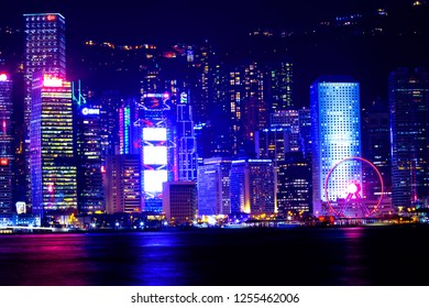 HONG KONG, CHINA - November 22 2018: Hong Kong Island at the Wan Chai District. Hong Kong is one of the densest areas in the world with a population of 7 million and land area of 1,104 km2.