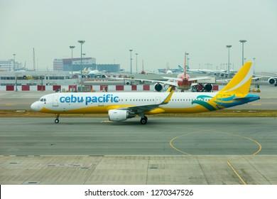 HONG KONG, CHINA - NOVEMBER 25 2018: Cebu Pacific plane in Hong Kong International Airport.