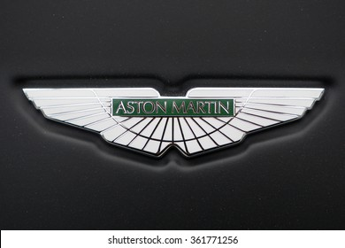 HONG KONG, CHINA - NOVEMBER 26, 2015: Logo detail. Aston Martin is a British manufacturer of luxury sports cars and grand tourers founded in 1913.