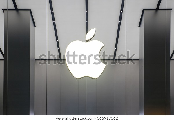 HONG KONG, CHINA - NOVEMBER 28, 2015: Apple Store window in Kowloon. Apple Inc. is an American multinational technology company headquartered in Cupertino, California.