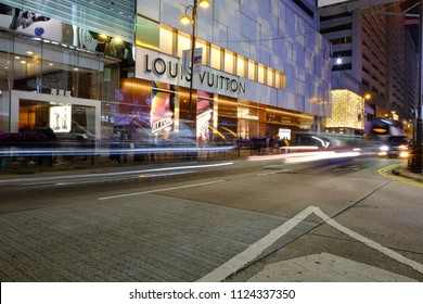 Hong Kong, China - November 3, 2017: Night street in Canton Road, Tsim Sha Tsui, Hong Kong. Canton Road is a luxury brands shopping street in Hong Kong.