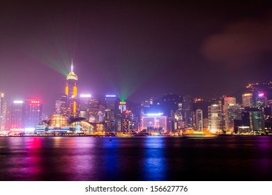 HONG KONG, CHINA - OCT 01: Victoria Harbor in Hong Kong on Oct 01, 2013. The Victoria Harbor is world-famous for its stunning panoramic night view and skyline.