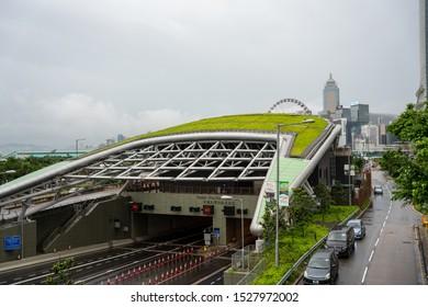 Hong Kong, China - Oct 06 2019: Central-Wan Chai Bypass is a four-kilometre trunk road running between Sheung Wan and Fortress Hill on Hong Kong Island.