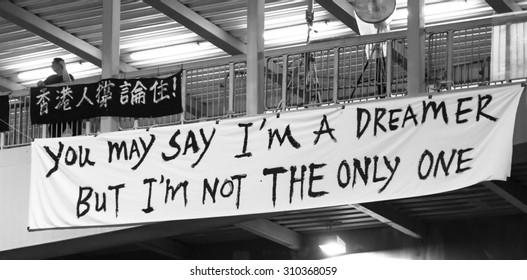 HONG KONG, CHINA - OCT 2: Hong Kong Protestors on October 2th , 2014 in Hong Kong, China. The 2014 Hong Kong protests, also known as the Umbrella Movement or Umbrella Revolution, began in September.