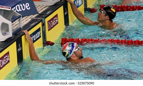 Hong Kong, China - Oct 29, 2016. Olympic and world champion swimmer Chad LE CLOS (RSA) and ORTIZ-CANAVATE Miguel (ESP). FINA Swimming World Cup, Preliminary Heats, Victoria Park Swimming Pool.