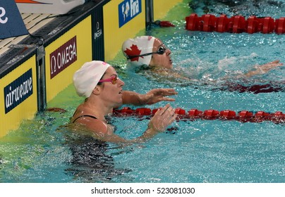 Hong Kong, China - Oct 29, 2016. Olympian and world champion swimmer Emily SEEBOHM (AUS) and HANUS Danielle (CAN) in the finish. FINA Swimming World Cup, Preliminary Heat, Victoria Park Swimming Pool.