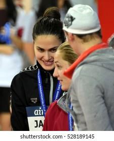 Hong Kong, China - Oct 29, 2016.  Zsuzsanna JAKABOS (HUN), Madeline GROVES (AUS), Katinka HOSSZU (HUN) at the Victory Ceremony of Women's Freestyle 200m. FINA Swimming World Cup.