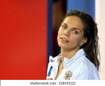 Hong Kong, China - Oct 29, 2016.  EFIMOVA Yuliya (RUS) at the Victory Ceremony of Women's Breaststroke 100m. FINA Swimming World Cup.