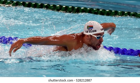Hong Kong, China - Oct 29, 2016.  Olympic and world champion swimmer LE CLOS Chad (RSA) swimming in the Men's Butterfly 200m Final. FINA Swimming World Cup, Victoria Park Swimming Pool.