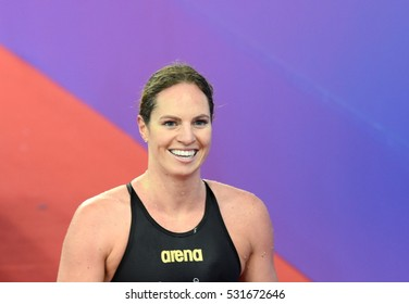 Hong Kong, China - Oct 29, 2016. Competitive swimmer SEEBOHM Emily (AUS) after the Women's Backstroke 200m Final. FINA Swimming World Cup, Victoria Park Swimming Pool.