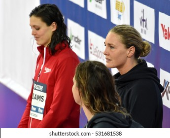 Hong Kong, China - Oct 29, 2016. Jeanette OTTESEN (DEN), WILLIAMS Michelle (CAN) and SEEBOHM Emily (AUS) at the Victory Ceremony of  the Women'sFreestyle 50m. FINA Swimming World Cup.