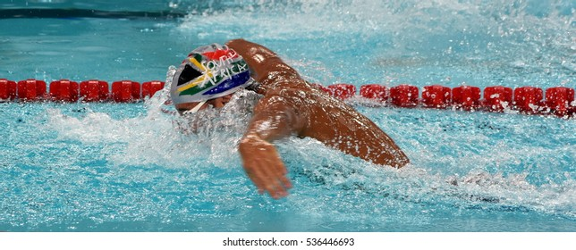 Hong Kong, China - Oct 29, 2016. Olympic and world champion swimmer LE CLOS Chad (RSA) swimming in the Men's Butterfly 100m Preliminary Heat.  FINA Swimming World Cup, Victoria Park Swimming Pool.
