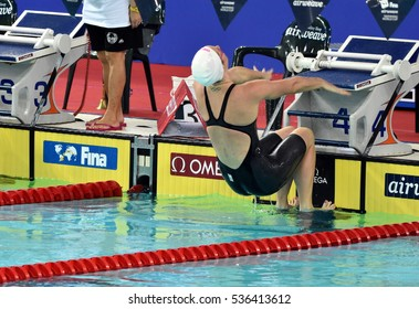 Hong Kong, China - Oct 30, 2016. Olympian and world champion swimmer Emily SEEBOHM (AUS) at the start of the Women's Backstroke 100m Preliminary Heat. FINA Swimming World Cup, Victoria Park.