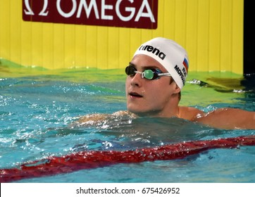 Hong Kong, China - Oct 30, 2016. Olympic bronze medalist swimmer MOROZOV Vladimir (RUS) after the Men's Freestyle 50m Final. FINA Swimming World Cup Finals Victoria Park Swimming Pool.