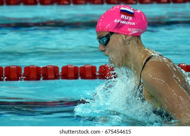 Hong Kong, China - Oct 30, 2016. Russian olympian and world champion breaststroke swimmer Yulia Yefimova swimming in the Women's Breaststroke 200m Preliminary Heat. FINA Swimming World Cup.