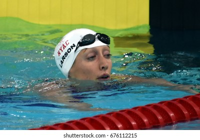 Hong Kong, China - Oct 30, 2016. American swimmer LARSON Breeja (USA) after  the Women's Breaststroke 200m Preliminary Heat.  FINA Swimming World Cup, Victoria Park Swimming Pool.